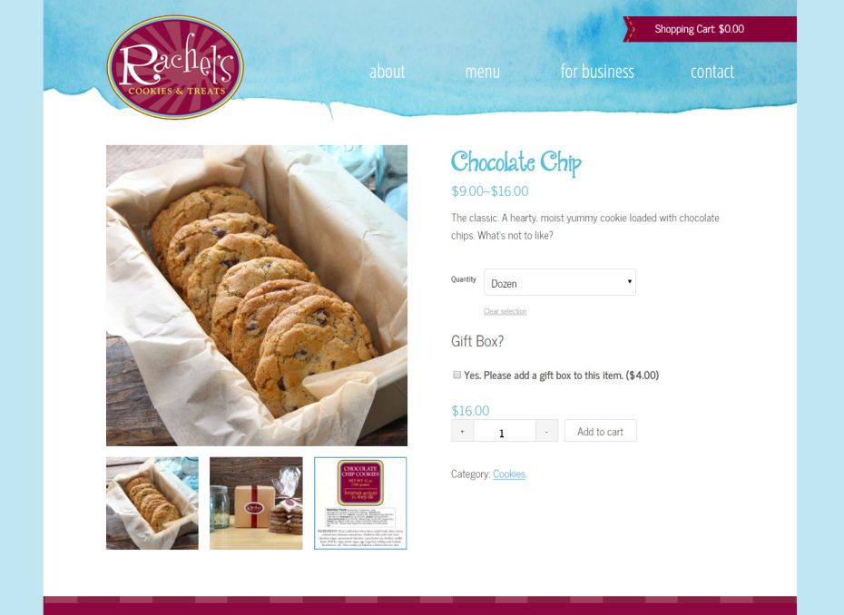 rachels cookies product page